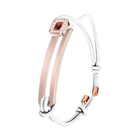 Bracelet L'Amarrage, Demi serti, or rose, cordon blanc